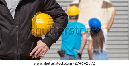 Construction worker ready for job. - stock photo