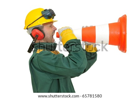 Construction worker shouting  isolated in white - stock photo