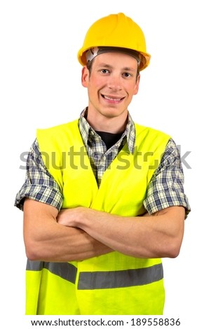 Construction worker smiling,isolated on white background.