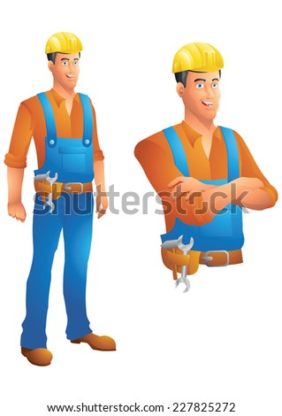 Construction worker standing and bust with arms crossed - stock photo