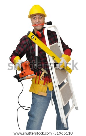 Construction worker stressed with lots of tools isolated in white - stock photo