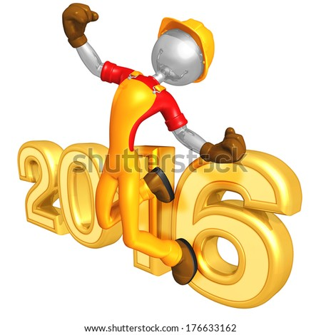 Construction Worker Success 2016 - stock photo