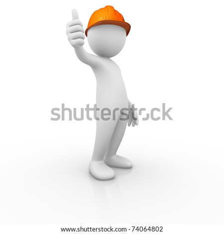 Construction worker thumb up signal - stock photo