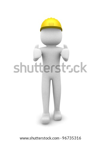 Construction worker thumb up signal - 3d render illustration