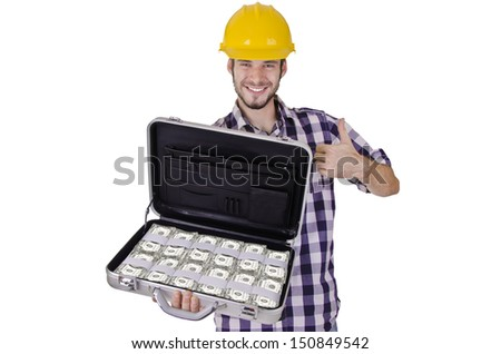 Construction worker with a suitcase full of cash, on white background.
