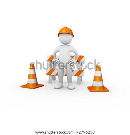Construction worker with barrier and traffic cones - stock photo