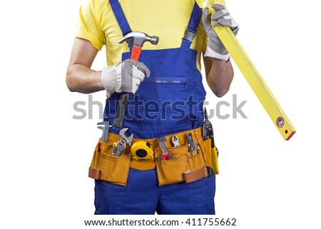 construction worker with belt and tools in hands on white - stock photo