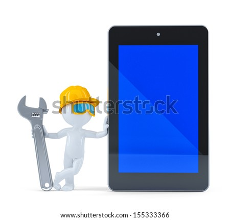 Construction worker with blank screen tablet. Isolated on white background - stock photo