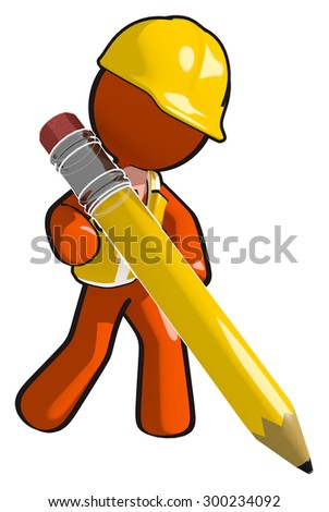 Construction worker with giant pencil writing - stock photo
