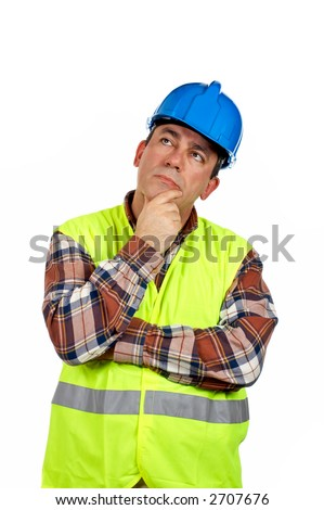 Construction worker with green safety vest thinking, over a white background - stock photo