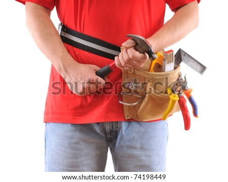 Construction worker with hammer over white background - a series of MANUAL WORKER images. - stock photo