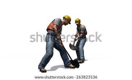 Construction worker with helmet, safety vest and shovel isolated on white background - stock photo