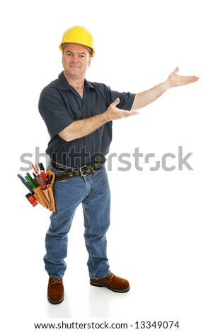 Construction worker with his hands in a presenting gesture.  Full body on white.