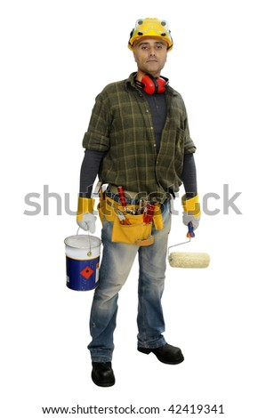 Construction worker with paint bucket isolated in white - stock photo