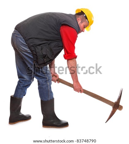 Construction worker with pick axe on a white background. Under construction metaphor. - stock photo