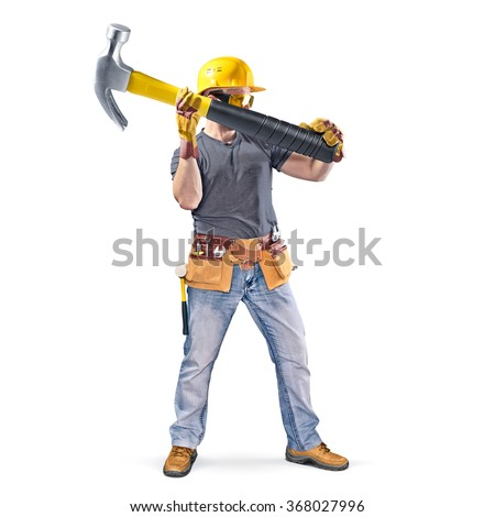 construction worker with tool belt and hammer on white background - stock photo