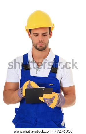 Construction worker writing on clipboard. All on white background. - stock photo