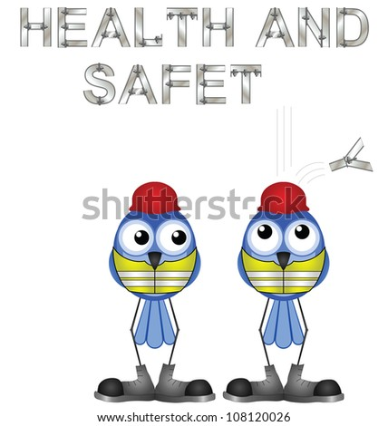Construction workers and health and safety sign isolated on white background - stock photo