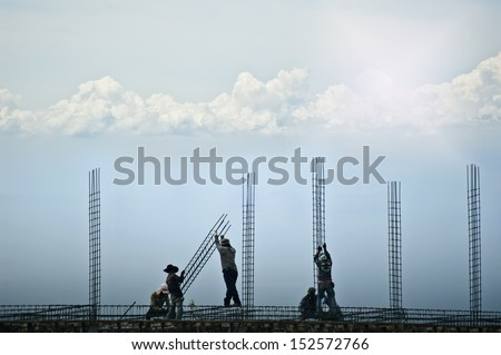 Construction workers are building - stock photo