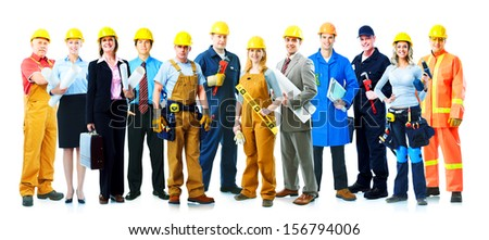 Construction workers group. Isolated over white background. - stock photo