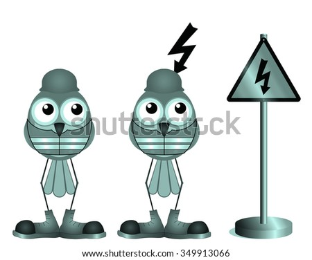 Construction workers with electric shock warning sign isolated on white background   - stock photo