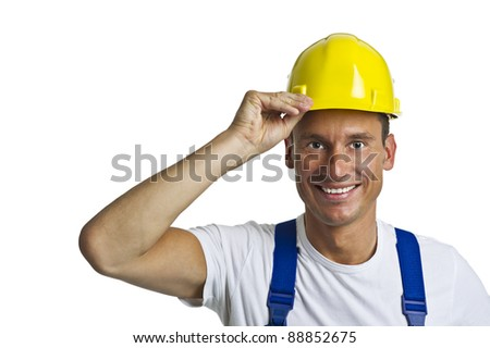 Construction workers with protective helmet