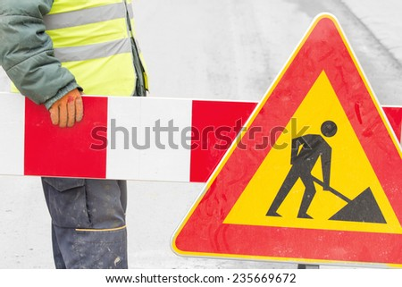 Construction works - closed street!  - stock photo