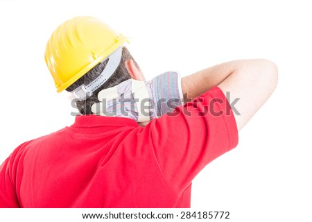 Constructor, builder or contractor suffering back neck pain after work, stress or accident - stock photo
