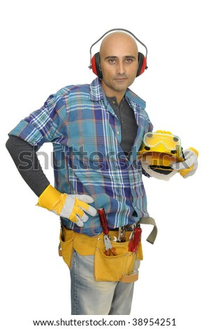 Constructor worker isolated in white - stock photo
