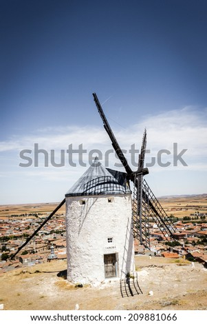 Consuegra, Don Quijote Windmills in Spain - stock photo