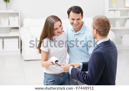 Consultant to the couple at home - stock photo