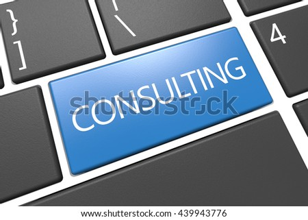 Consulting - keyboard 3d render illustration with word on blue key