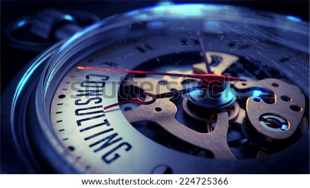 Consulting on Pocket Watch Face with Close View of Watch Mechanism. Time Concept. Vintage Effect. - stock photo