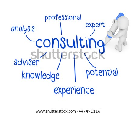 consulting  text ,business man writing consulting concept ,Man explain the meaning of consulting , 3d rendering