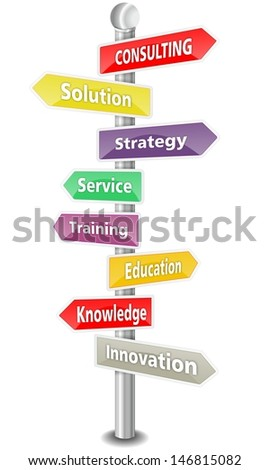 CONSULTING, word cloud designed as a colorful traffic sign or road signpost - NEW TOP TREND - stock photo