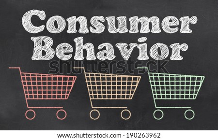 Consumer Behavior with Carts In Red, Orange and Green - stock photo