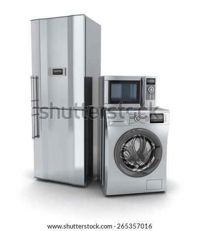 Consumer electronics.Fridge,microwave and washer (done in 3d). - stock photo