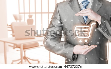 Consumer protection concept. Safety and insurance of trade and goods. Online marketing. Office background. - stock photo