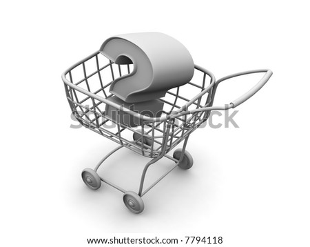 Consumer's basket with question. 3d