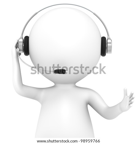 Contact. 3D little human character with a Headset. Front view, isolated. People series.