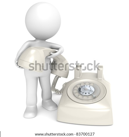 Contact. 3D little human character with a Telephone, retro cream white plastic. People series. - stock photo