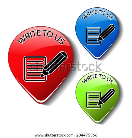 contact icons, buttons of write to us - stock photo