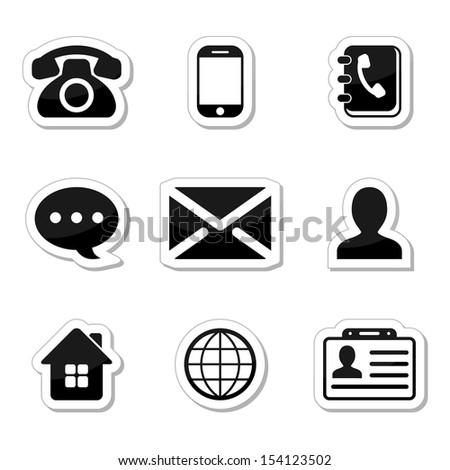 Contact Icons Set as labels - stock photo