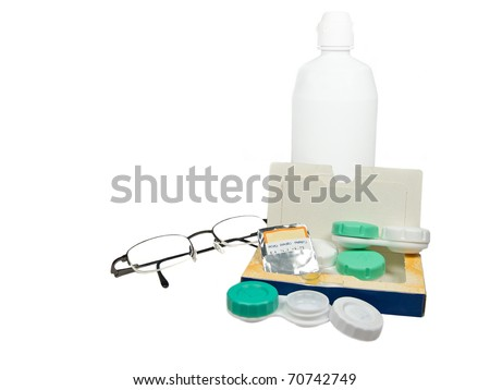Contact lenses and glasses - stock photo