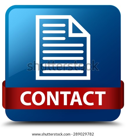Contact (page icon) blue square button - stock photo