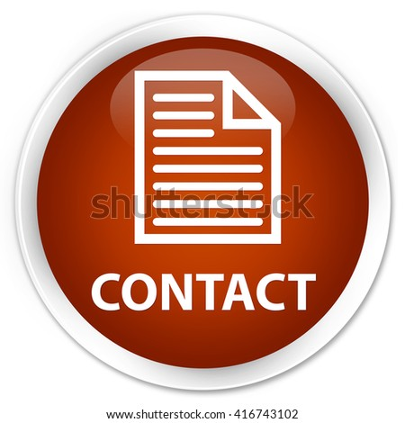 Contact (page icon) brown glossy round button - stock photo
