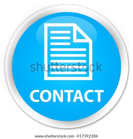Contact (page icon) cyan blue glossy round button - stock photo