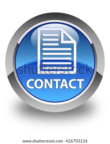 Contact (page icon) glossy blue round button - stock photo
