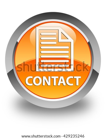 Contact (page icon) glossy orange round button - stock photo