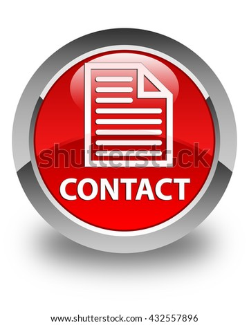 Contact (page icon) glossy red round button - stock photo